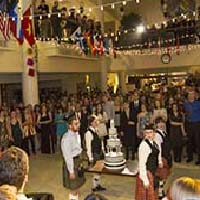 Photo of lines of people in kilts