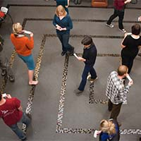 Photo of people walking a labyrinth
