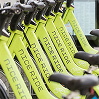 Photo of a line of Nice Ride bikes