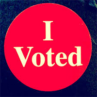 """Photo of an """"I Voted"""" sticker"""