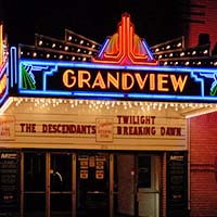 Photo of the exterior of the Grandview movie theater