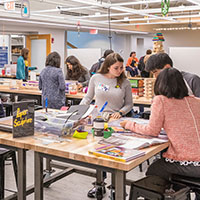 Photo of students working in the Idea Lab