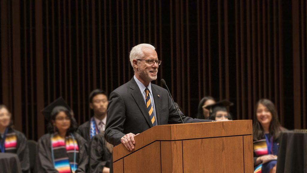 President Brian Rosenberg speaking at Macalester College