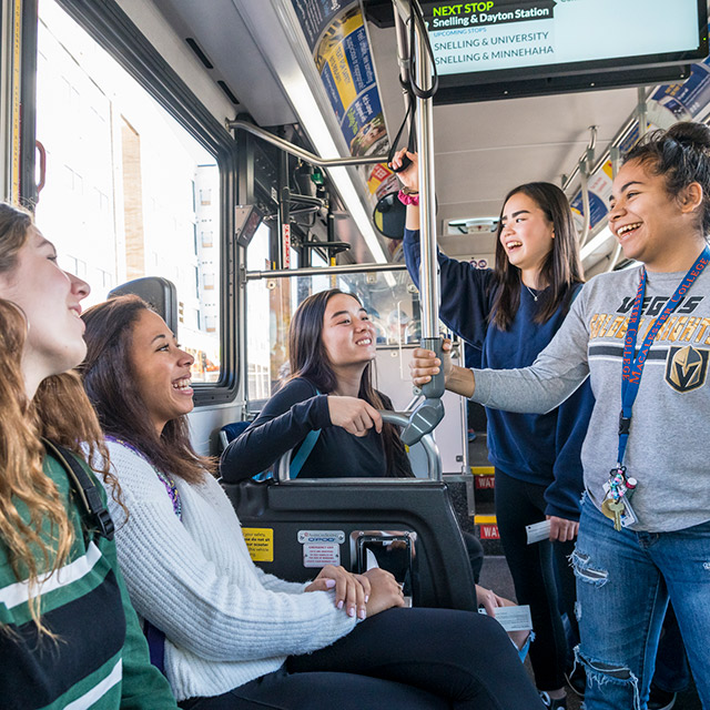 Photo of students riding the light rail