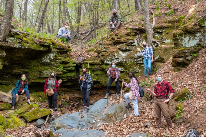 Students at a river