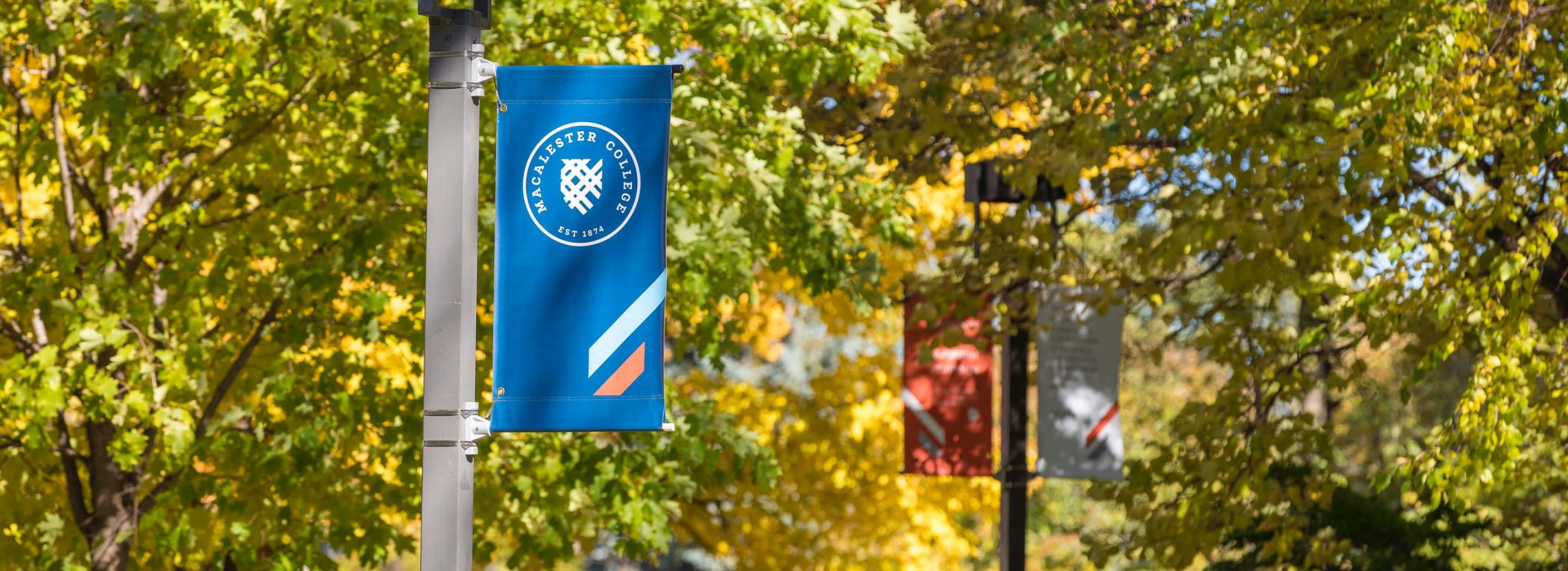 Banners affixed to light posts on the Macalester campus in autumn.