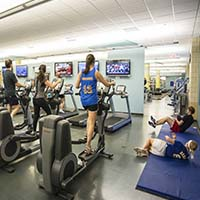 Photo of students running on treadmills