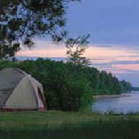 Photo of a tent on Lake Superior