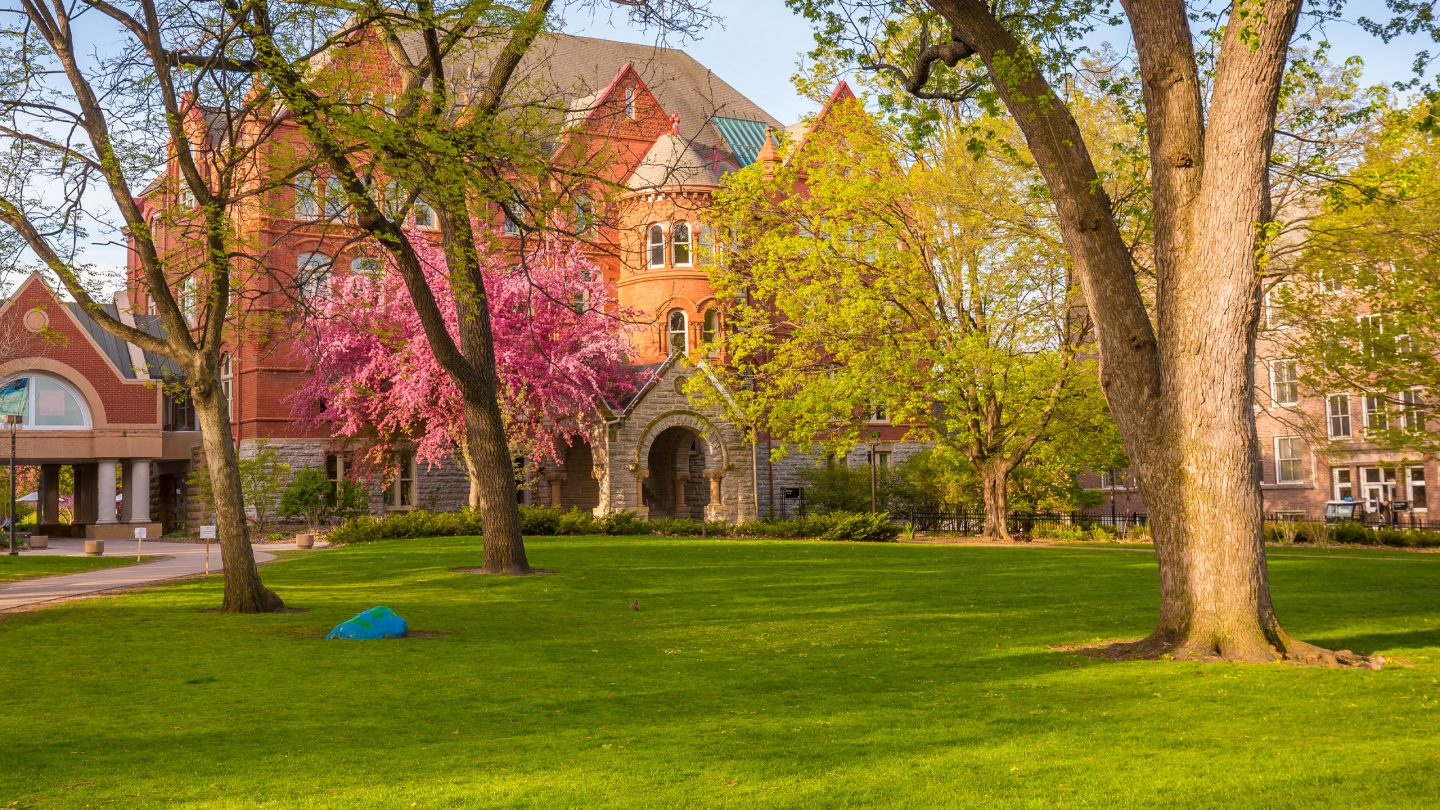 The Macalester Great Lawn in springtime.