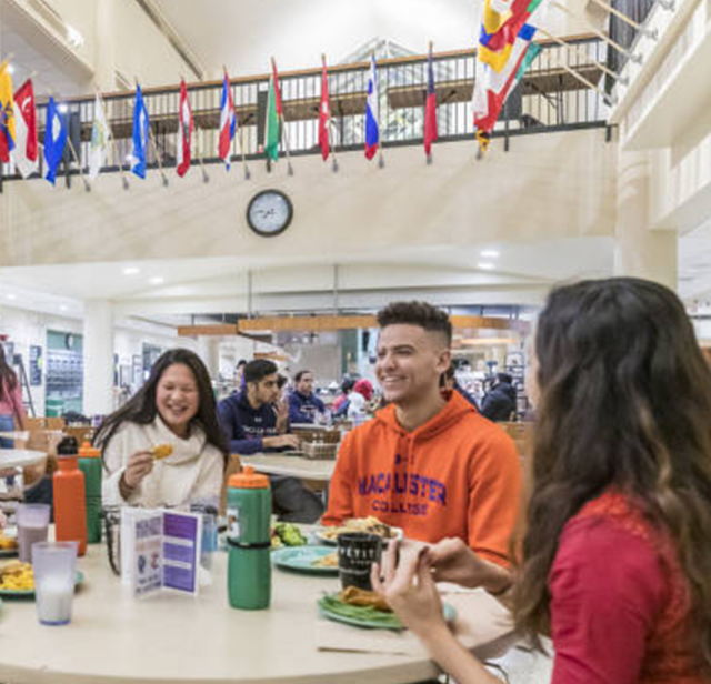 Macalester Students eating in Café Mac