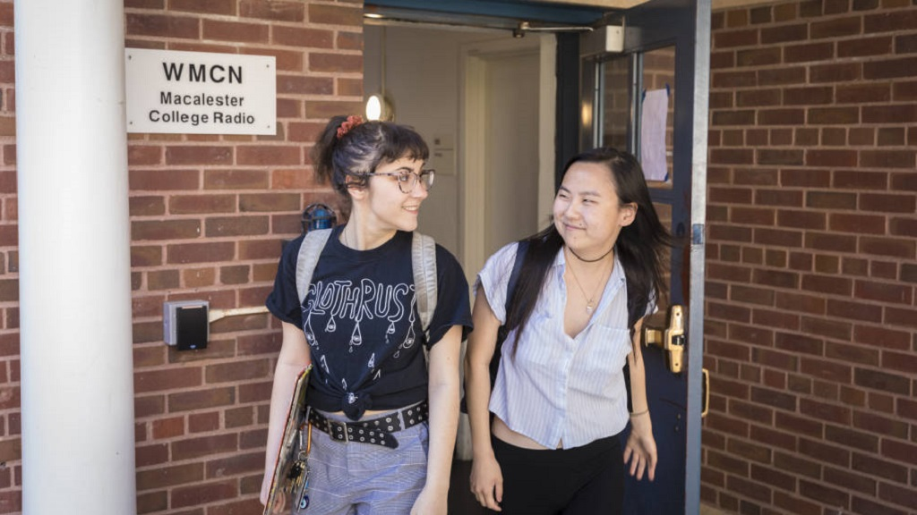 Macalester Students exiting radio station