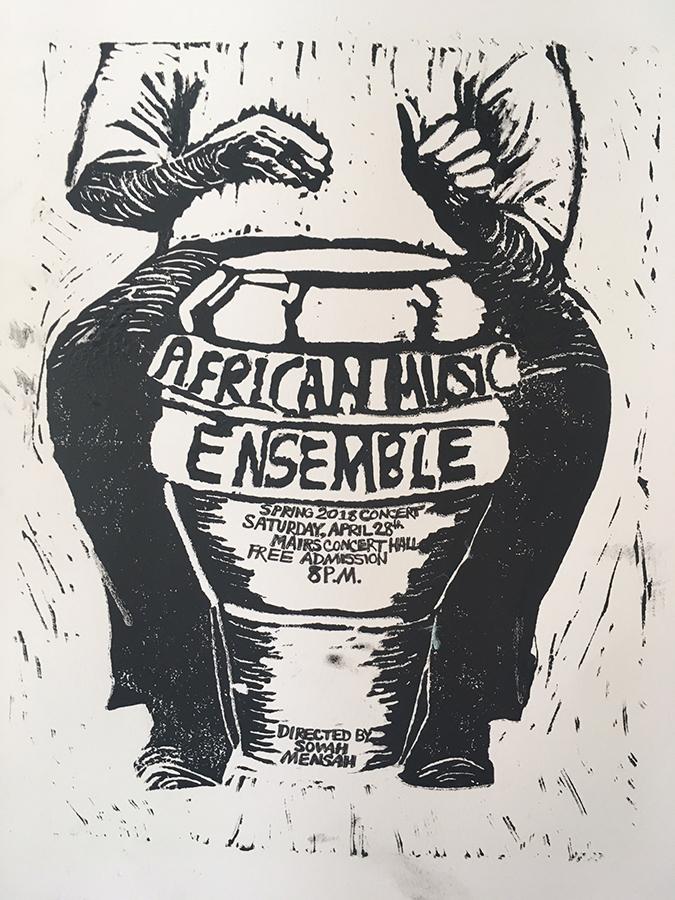 Erin Lynch linocut print for the African Music Ensemble