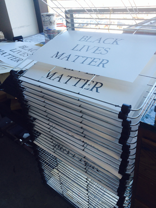Black Lives Matter posters printed in the letterpress studio were given away in the wake of the 2015 Tamir Rice shooting.