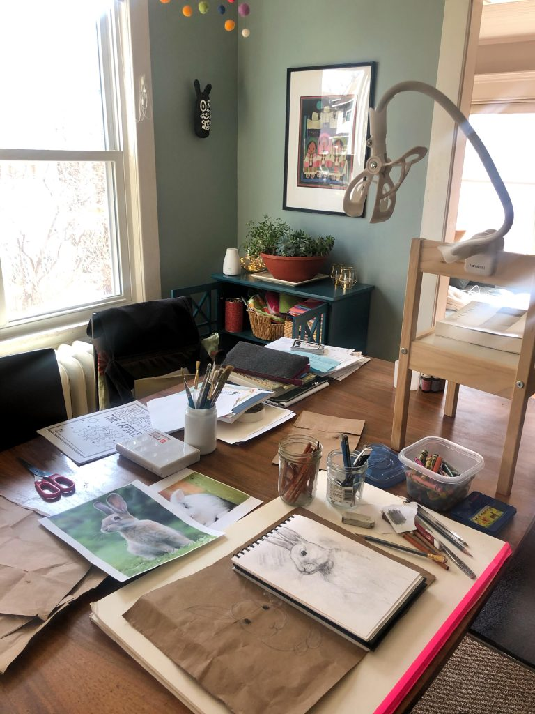 Dining room drawing studio! Taken after recording a demo video for Drawing 1 with Prof. Megan Vossler during COVID-19.