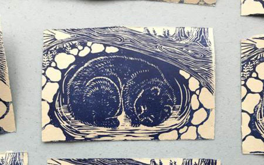 Linocut relief prints on the theme of shelter by Aberdeen Morrow '22. Printmaking students each received a mini home printing kit and editioned prints in sufficient quantity to share with each other (as is our custom in the print classes). They used prepaid mailers to send them back for collation and redistribution. Everyone got a copy of the portfolio. We also made a WordPress page for the class to share each others' work in progress and give each other feedback.
