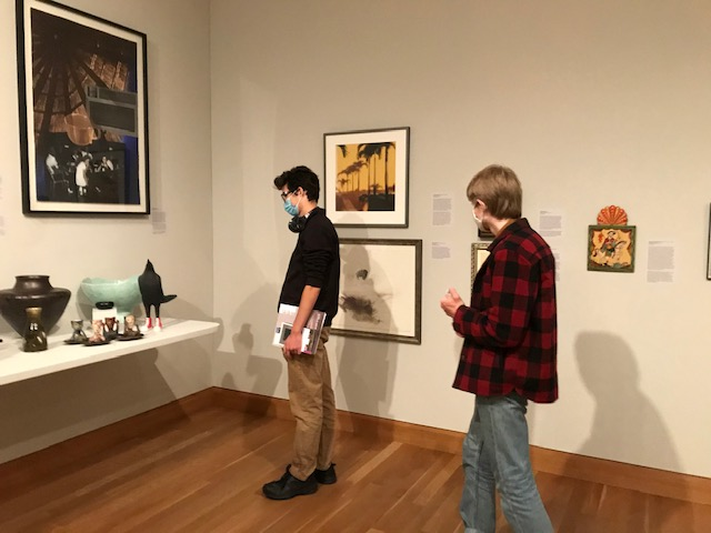 Students in Prof. Joanna Inglot's class on field trip to the Weisman Museum for Harriet Bart's exhibition.