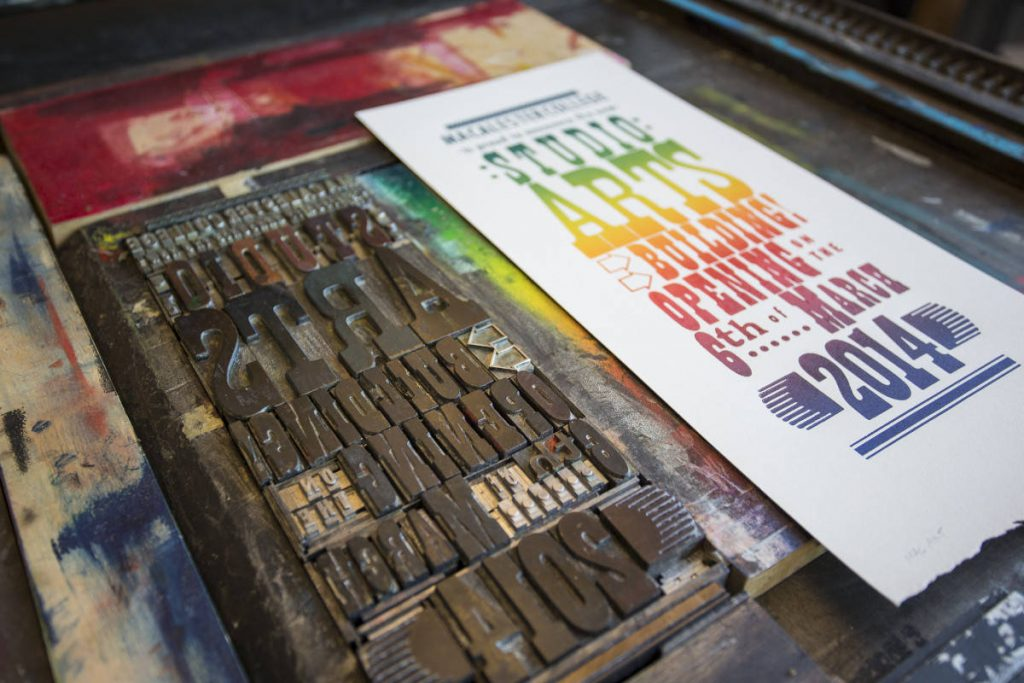 A Letterpress Broadside for the Grand Opening of the Joan Adams Mondale Hall of Studio Art, by Erin Holt.