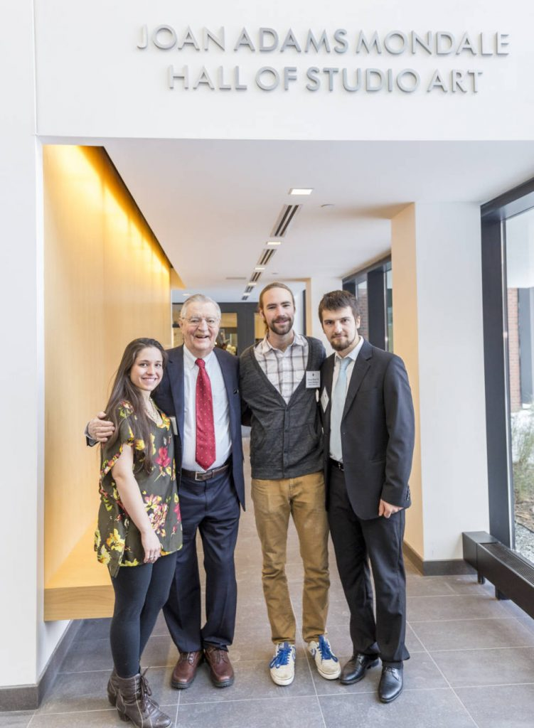 Former Vice President Walter Mondale with the recipients of the Joan Adams Mondale Scholarship for Ceramics, Avielle Suria Trenche, Simon Koda, and Egzon Sadiku
