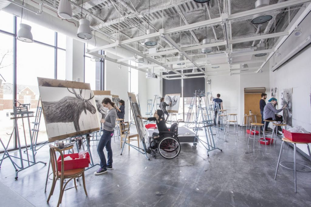 Students working in the Drake Drawing Studio.