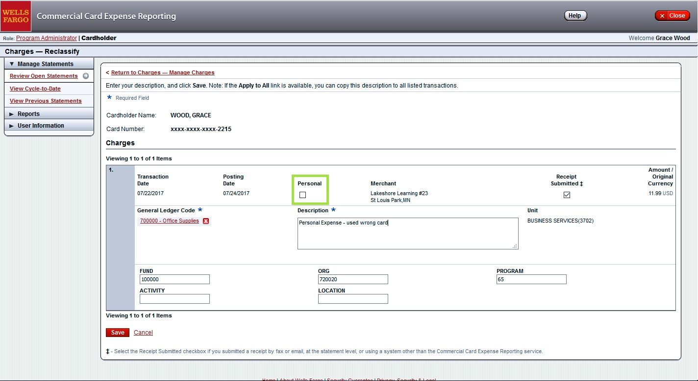 Pcard Statement Approval Personal Expenses