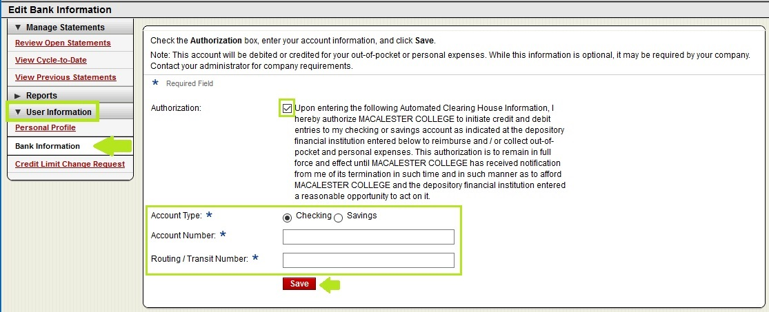 Pcard Statement – Linking Personal Bank Account