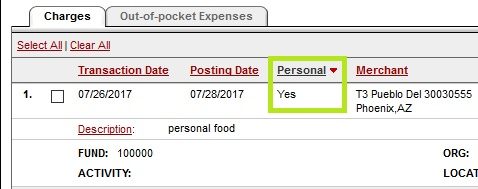 Pcard Statement – Personal Charge