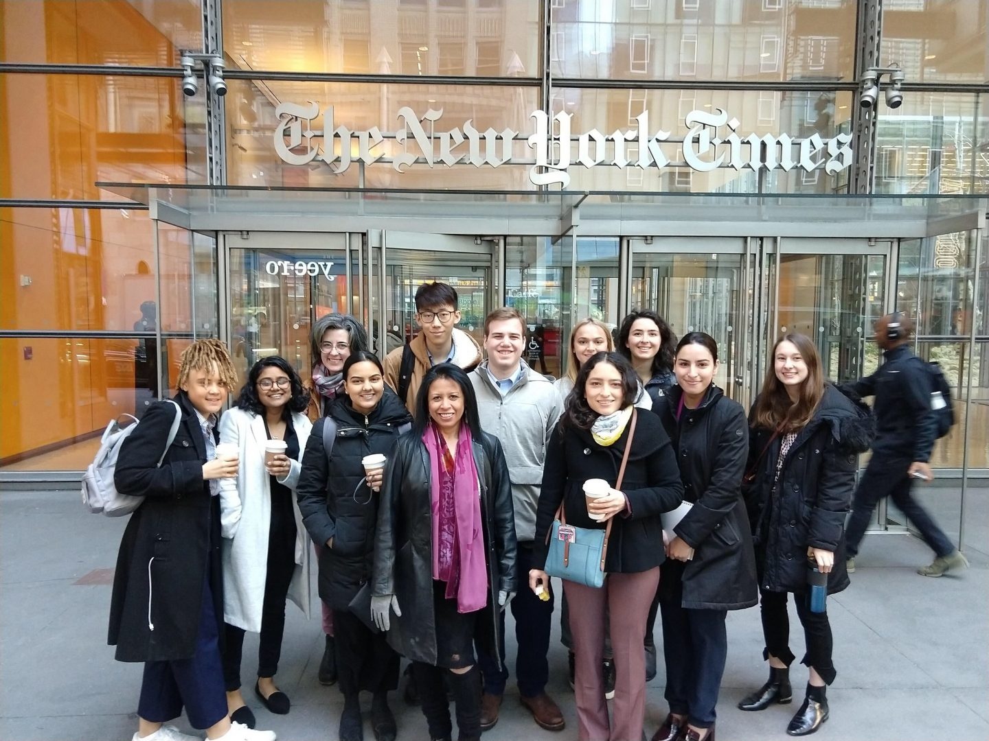 Photo of students visiting the New York Times building