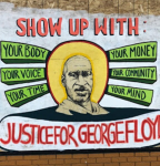 Two students painted a mural of George Floyd on the Patagonia storefront inviting onlookers to participate in the needed social change