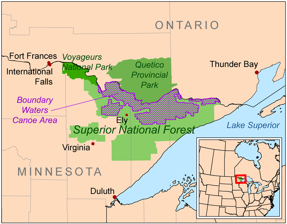 Open-source map from Wikipedia by Kmusser based on USGS data except the BWCA boundary is from the US Forest Service and all Canadian data is from Natural Resources Canada.