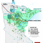Map showing Line 3's affect on Indigenous treaty resources