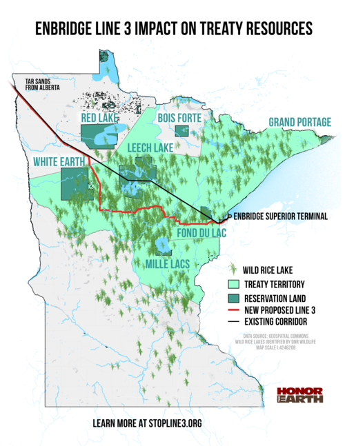 "Source: ""Enbridge Line 3 Impact on Treaty Resources"" from Honor the Earth via stopline3.org."