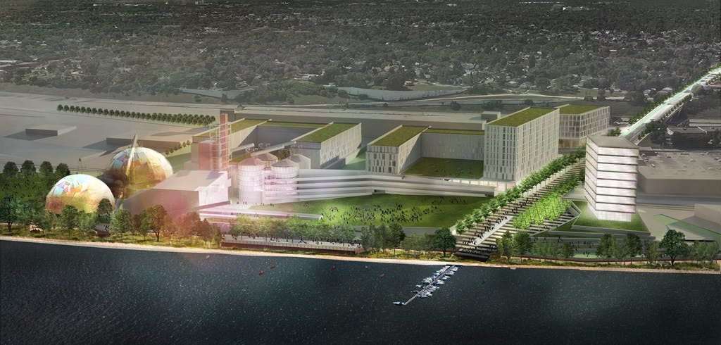 "Rendering by First Avenue Productions as featured in Star Tribune's Jan. 26, 2020 article, ""Next step for Upper Harbor Terminal: Securing $20M from state for massive amphitheater."""