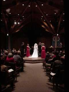 A night-time wedding in the chapel