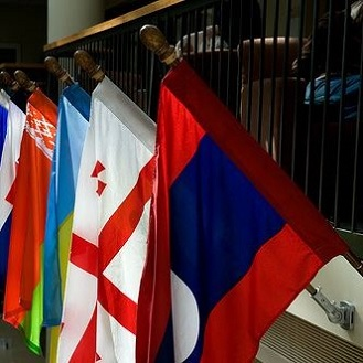 photo of flags in the Campus Center