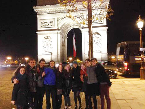 Students at the Arc De Triomphe on our last night