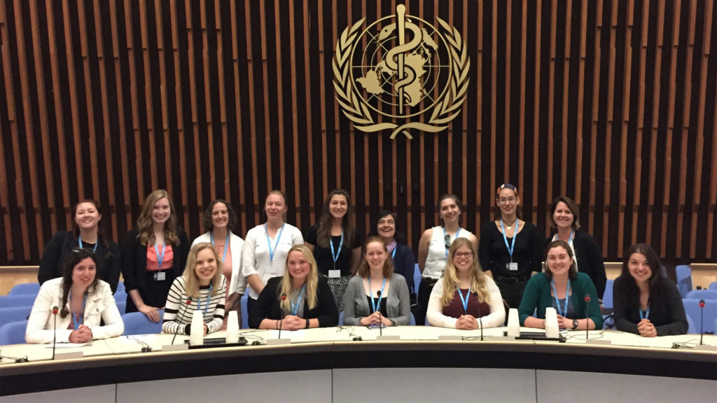 Students enrolled in the Language of Diplomacy program during their visit to the World Health Organization headquarters in Geneva.