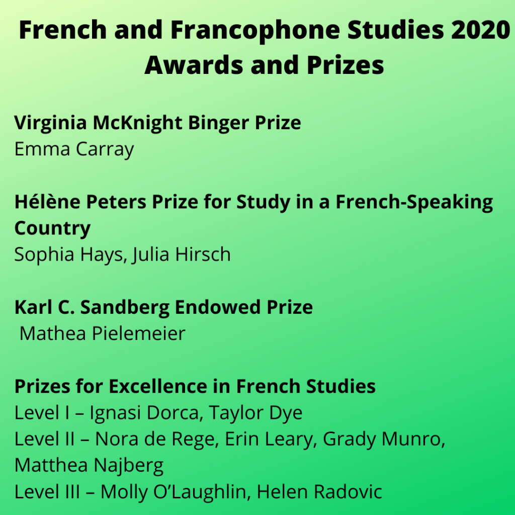 French and Francophone Studies 2020 Prizes