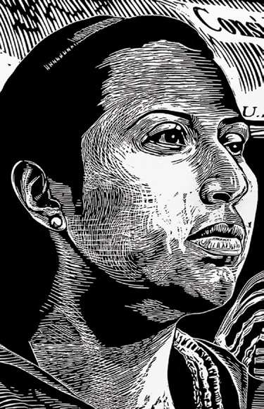 """Raoul Deal, DACA (Deferred Action for Childhood Arrivals), """"Immigration Series #10,"""" woodcut, 2013 (detail)"""