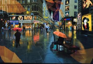Vienna at night with umbrellas overlapping across the image