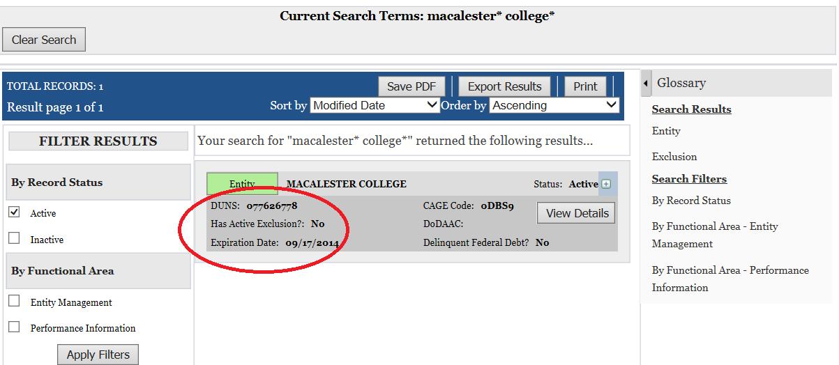 SAM.gov search results