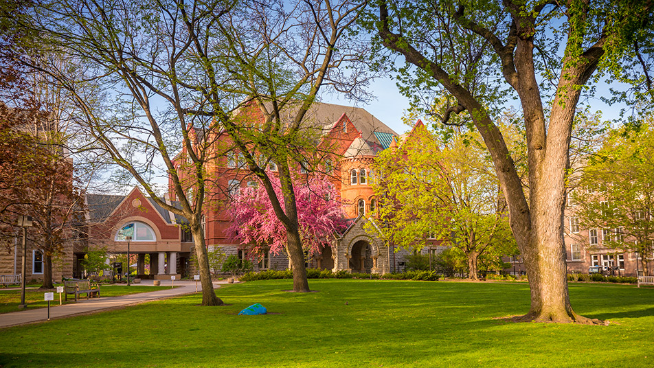 Photo of the Macalester College campus in springtime.