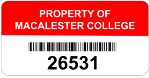 Property of Macalester College tag with the barcode and 5-digit ID number below it.
