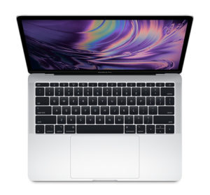 MacBook Pro laptop, silver with black keyboard