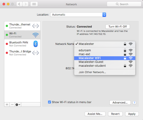 Mac OS: Network dialog box