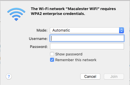 Mac OS: WPA2 enterprise credentials dialog box