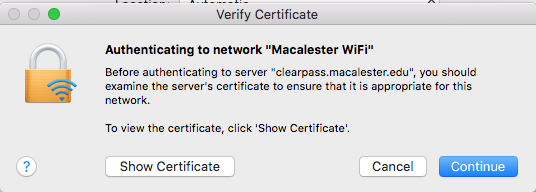 Mac OS: Verify Certificate dialog box