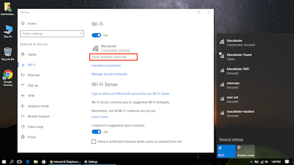 Windows 10 wifi selection panel