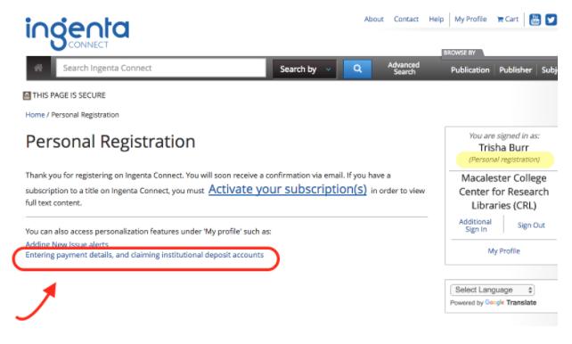 Ingenta Personal Registration Page