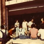 Students playing music in front of Kagin, circa 1970s