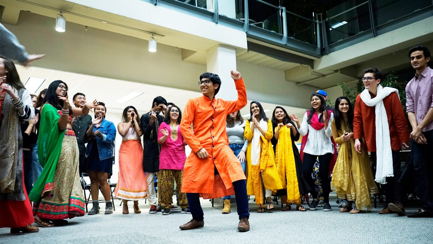 Students participating in a Diwali celebration